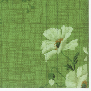 Bouquet of poppy flowers, on long stems. Printed in green on green background with textile-like design.
