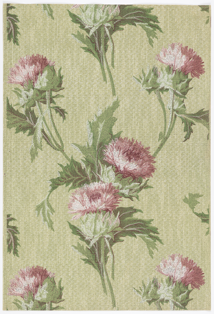 Pink flowers on stems. Printed on mottled green background.