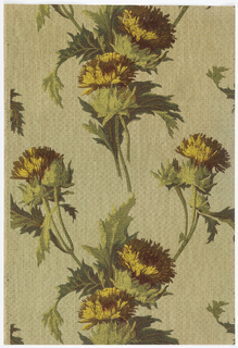 Thistle or dandelion, printed in yellow and green on a tan background with texile-like pattern.