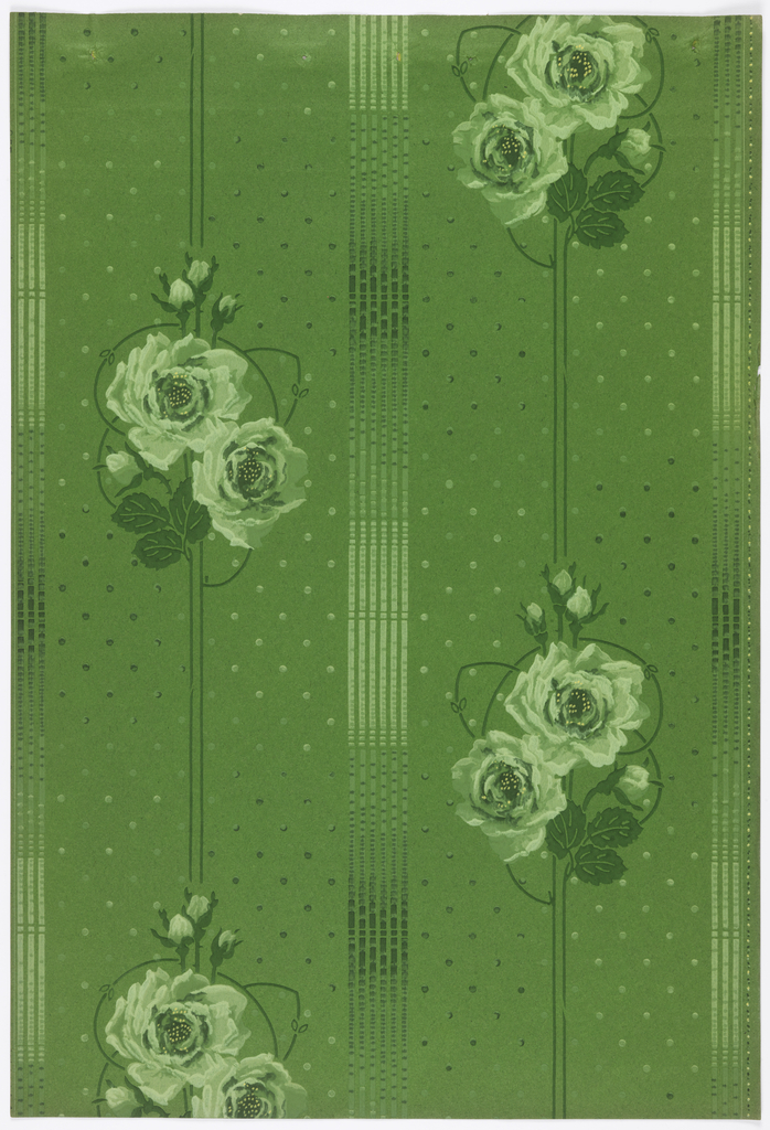 Floral stripe design. Motif of two roses plus buds on narrow stripe. Alternating with a wider stripe. Printed in green on green spotted background.