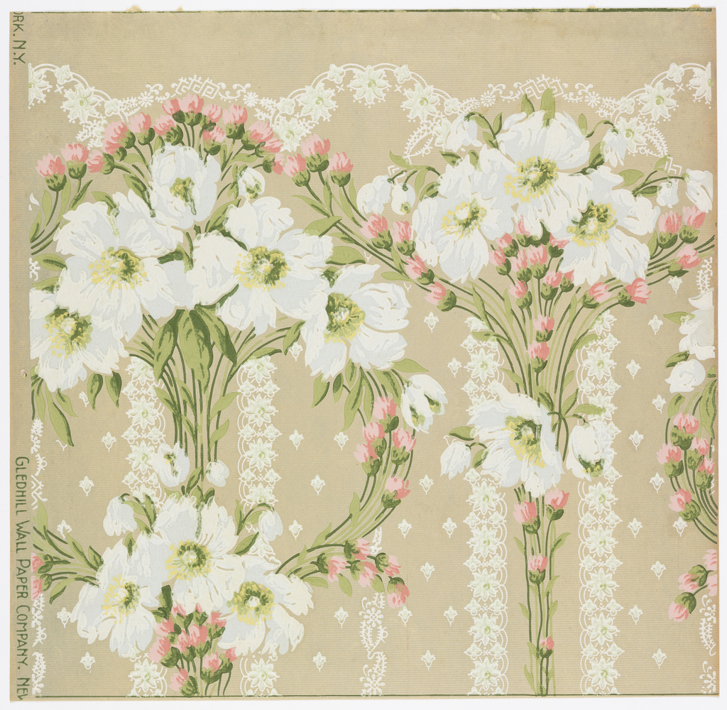 Bunch of wild roses on stems with foliage. Small rose buds are arranged over and around the large flowers. Lace sprigs run vertically in back of the flower and tiny rosebuds are geometrically placed over the background. Printed in blue, white yellowand pink on a beige background.