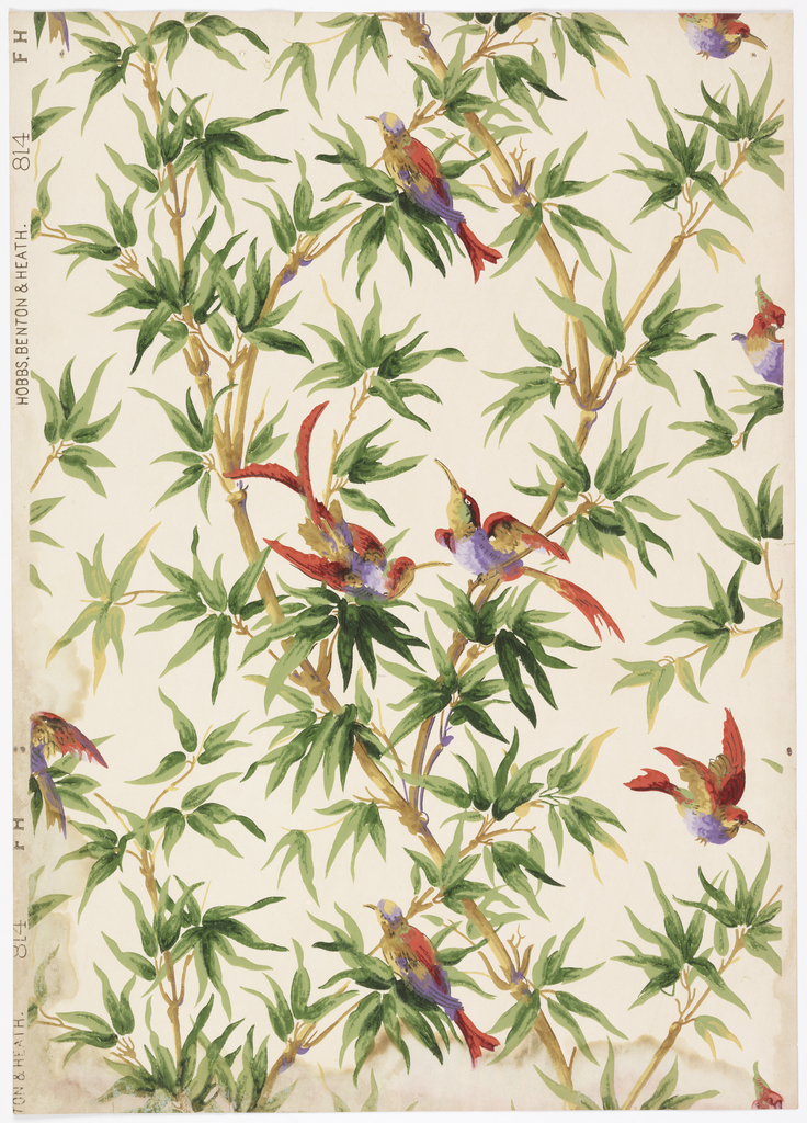 Exotic birds flying and perching between bamboo branches with leaves. One directional vertical design. Printed in shades of green, red and purple on a beige background.