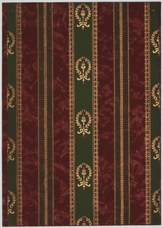 Vertical stripes two inches apart. One stripe 3 1/2 inches wide has laurel wreath motifs. The other alternating stripe has rope-like twists running unbroken. Background of marbleized or velvet design. Printed in dark green, gold mica, burgundy and pink.