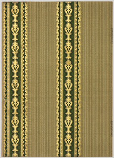 Two vertical stripes 4 1/4 inches wide and 5 inches apart. Fleur de lis motifs run in the center of the stripes. A weave simulation in verticals covers the background. printed in shades of green, beige, off-white and gold mica.