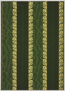 Vertical stripes, 5 1/2 inches and 3 1/2 inches alternate. The wide stripe is bordered on each side by a floral design. Its center is filled with a design of watermarks. The 2 1/4 inch stripe is vertically designed with fine line lace pattern. Printed in shades of green, black and gold mica.
