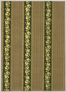 Vertical stirpes 2 3/4 inches wide and 3 1/2 spaced in the center of the stripe runs a garland of leaves. The background is filled with a weave-like texture. Printed in dark green, brown, tan, black and gold mica.