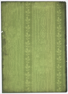 Floral motif in horse shoe shape. Leaves on straight stem are dividing the motif, ending in a bow and floating ribbons on top. A three inch stripe runs vertically with acorns and oakleaves on straight stem. The background simulates moire. Printed in shades of green.