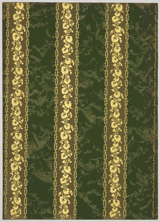Vertical stripes, 2 3/4 inches wide and 3 1/2 inces spaced. A leaf garland runs through the center ot the stripe. The background shows some cloud efects. Printed in shades of green and gold mica.