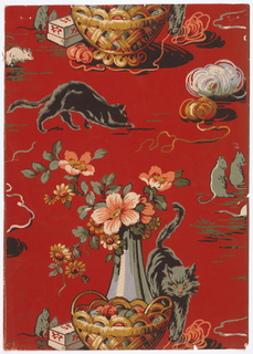 Cats playing with coils of wool and mice. Baskets with floral arrangements. Pindots cover the background. Printed in red, beige, pink, gold, ocher, black and green. Possibly a children's wallpaper.