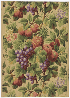 Rich design of grapes, peaches, pineapple and cinquefoil flowers in profuse foliage and grape leaves. Printed in shades of red and green, purple, brown and beige on an off-white ground.