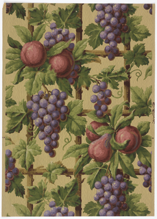 Peaches and pears with foliage and clusters of grapes are fastened to horizontal and vertical poles. Fine wavy vertical lines fill the background. Printed in shades of red, purple and green on an off-white background.