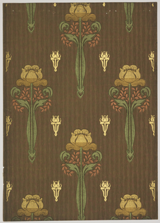 Stylized tulips, printed in metallic tans, rust and green shades, alternating with small stylized gold floral motifs, on striped brown background.