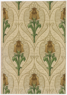 Textile imitation: stylized tulips printed in tans and greens, in ogival medallion, on beige ground.
