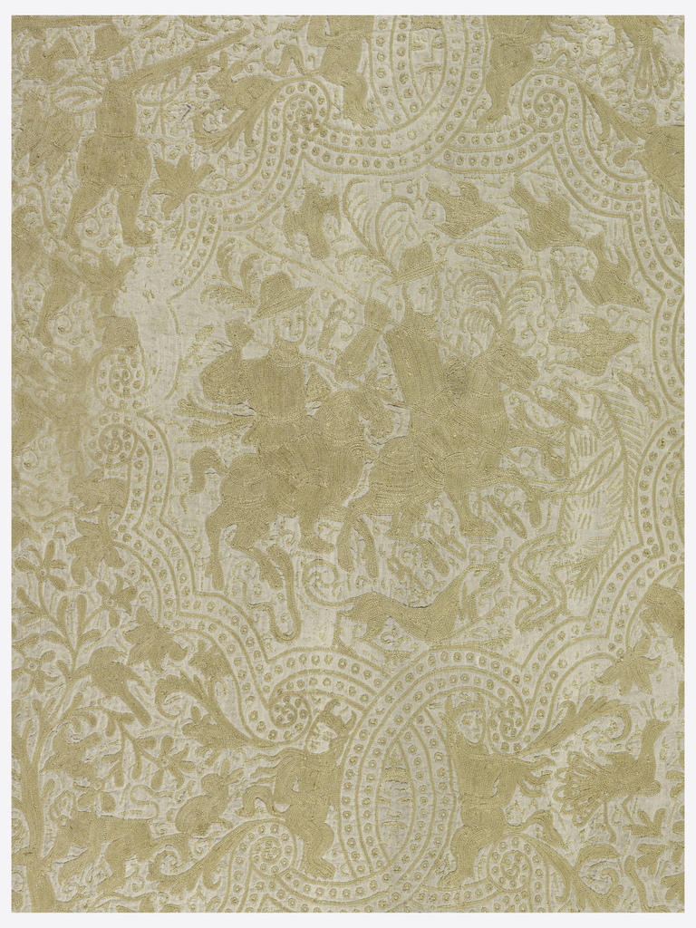Indo-European figural groups, plant and animal combinations, in large lobed medallions in horizontal-vertical arrangement on a ground filled with small figures, floral motives, birds and animals. In coarse yellow silk chain stitch on undyed cotton ground.