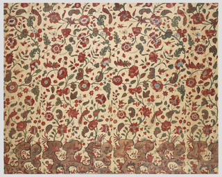 Large hanging of cotton chintz, lined with pale blue Chinese silk damask (now removed), contemporary with the chintz, and bound on three sides with twill curtain binding. The design is of large-scale flowering branches with large blossoms, smaller sprays of flowers, and heavily curved leaves, with birds (peacocks, parakeets, and pheasants) perched among them. With exception of certain leaves, design elements have different color scheme and internal decoration with each repetition, including all kinds of diapers, linear plant sprigs, hatching and shading, sometimes with resist. The trees spring from a rockery of Chinoiserie character, in which appear animal and human figures, including a shepherd in a pointed hat with a crook, blowing a horn to gather his sheep; a hunter with a round hat bearing a spear, while dogs below pursue a leopard; stags, goats, and rabbits. The painting is elaborate, in multiple shades of red and green, with light blue, violet, and brown, and much shading, on a white ground. The men are in red, with patterning suggested on their clothes.  Animals are red with darker markings or white spots. Birds are in shades of red or green in plumage, with feather marking indicated. The hillocks in the landscape are light brown with darker brown outlines.    The original glaze is intact.