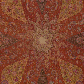 "Square woven shawl with a red ground and multicolored design in pink, orange, green, blue, purple, and white.  A taupe eight-pointed star in the center is surrounded by snake-like forms. From each corner, a yellow pine cone form set on an elaborate vase points toward the center; between these is a smaller, purple cone. An inner guard boder has a repeating design of alternating flowers, and the outer ""harlequin"" border is of bands of alternating color. All pattern areas are filled with tiny plants and flowers."