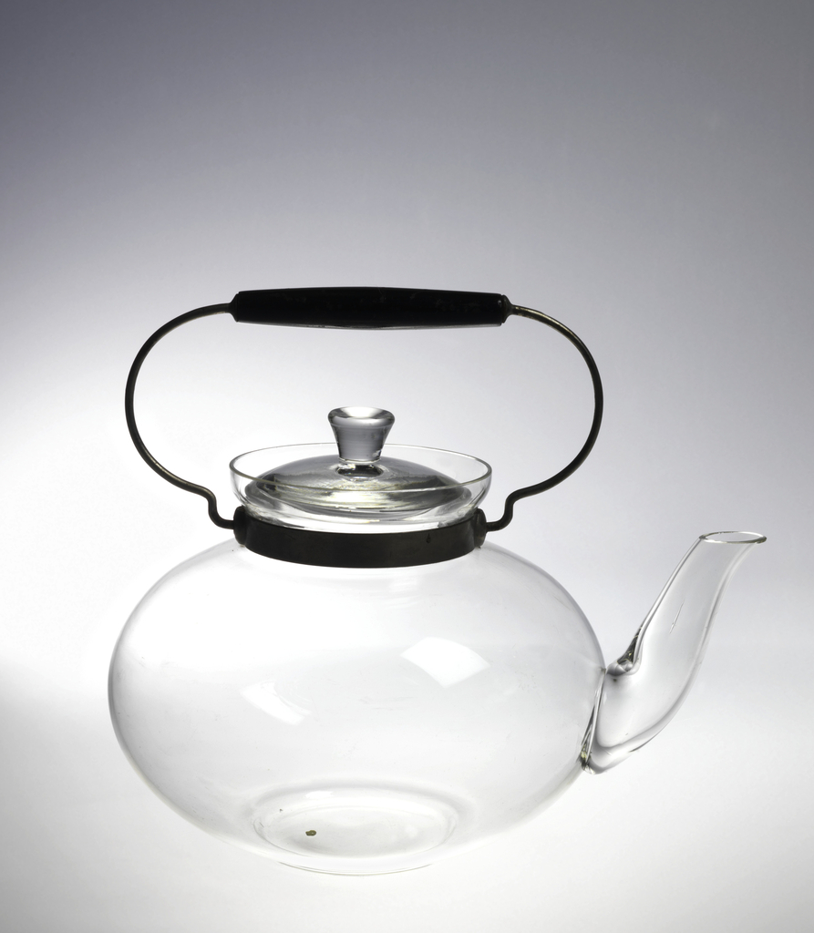 Squat, globular body with long curving spout; metal collar around neck, attached looped handle with wooden grip; slightly domed lid with flared finial.