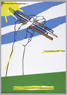 Poster depicts a hand and forearm holding artist tools, such a pencil, brushes, on a background of two blue rough stripes and a painted sun; green ground. Text in black on yellow: Reihe Schweizer Plakatgestalter 2; on a paintbrush is written: 21. Aug. – 20. Okt. 1985; center right: Emil Cardinaux 1877 – 1936; Museum fur Gestaltung Zurich Kunstgewerbemuseum.