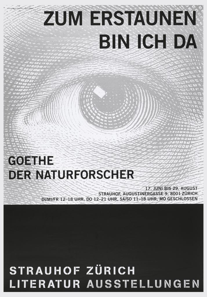 Poster depicts a large gray eye with black text above: ZUM ERSTAUNEN / BIN ICH DA; center left: GOETHE / DER NATURFORSCHER; center right: 17. JUNI BIS 29. AUGUST / STRAUHOF, AUGUSTINERGASSE 9, 8001 ZURICH / DI/MI/FR 12-18 UHR, DO 12-21 UHR, SA/SO 11-18 UHR, MO GESCHLOSSEN. Lower section features white text on black ground: STRAUHOF ZURICH / LITERATUR AUSSTELLUNGEN.