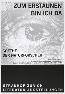 Poster depicts a large gray eye with black text above: ZUM ERSTAUNEN / BIN ICH DA; center left: GOETHE / DER NATURFORSCHER; center right: 17. JUNI BIS 29. AUGUST / STRAUHOF, AUGUSTINERGASSE 9, 8001 ZURICH / DI/MI/FR 12-18 UHR, DO 12-21 UHR, SA/SO 11-18 UHR, MO GESCHLOSSEN. Lower section features white text on black ground: STRAUHOF ZURICH / LITERATUR AUSSTELLUNGEN.