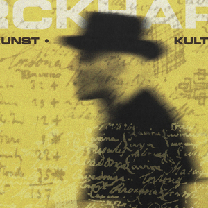 """Yellow background, with superimposed traces of handwriting and sketches. A silhouette of a man walking, facing left, carrying a large portfolio under his arm. At three-quarters, lower left, a white circle. Inscriptions: top, """"Jacob Burckhardt 1818-1887""""; followed by, """" geschichte - kunst - kultur """"; and at lower left, """" im / strauhof zurich / augustinergasse 9 / 8001 zurich / offnungszeiten: di, mi, fr 12-18 uhr / do 12-21 uhr / sa, so 11-18 uhr / mo geschlossen""""."""