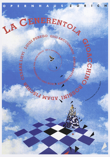 "On a blue sky and white cloud ground; blue and white checkerboard below with a woman wearing a ""dress"" composed of triangles. Above, in pink ink, spiral text: LA CENERENTOLA GIOACCHINO ROSSINI ADAM FISCHER CESARE LIEVI LUIGI PEREGO GIGI SACCOMANDI ERNST RAFFELSBERGER CHOR UND ORCHESTER DER OPER ZURICH AB 17. SEPTEMBER 1994. Upper margin, in white and black: OPERNHAUS ZURICH. Center right: PLAKATSPONSOR CITY BANK ZURICH."