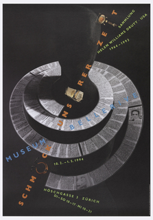 On a black ground, a faceless figure covered in black is surrounded by a spiral of newspaper; text in blue, orange and light green, with intermittent pieces of jewelry: MUSEUM BELLERIVE / SCHM[…]CK UNS[…]RER ZE[…]T / SAMMLUNG / HELEN WILLIAMS DRUTT . USA / 1964-1993.