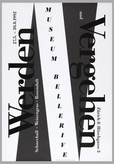On white ground, two gray triangles with vertical text in black and white: Werden 27.5. – 30.8.1992 / Scneeball-Weizengras-Rosenduft / MUSEUM BELLERIVE / und Vergehen / Zurich 8 Hoschgasse 3.