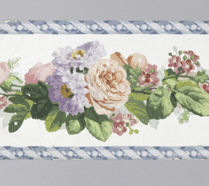 a) On glossy white ground, criss-cross blue ribbons, continuous rope of pastel roses, daisies and tiny pink flowers, bright green leaves; twisted ribbon and bead edges; b/e) Same, except ribbon edges gray.