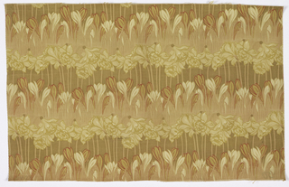 "Heavy cotton, printed on both sides. Design shows horizontal rows of crocus and daffodils. Shade of yellow, tan, and red for some outlines. Stuff is 31"" wide. Both selvedges present."