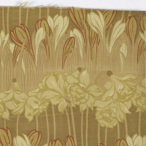 """Heavy cotton, printed on both sides. Design shows horizontal rows of crocus and daffodils. Shade of yellow, tan, and red for some outlines. Stuff is 31"""" wide. Both selvedges present."""