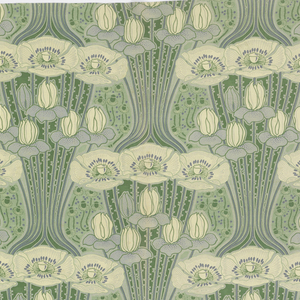 Length of heavy, ribbed cotton printed on both sides in a cool palette of greens, blues and white. Highly stylized design of clusters of lotus and poppies, each one rising from the one below on a fan of curving stems. Areas between are filled with small thistles.