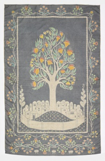 Vertical rectangular silk mural. Flowering tree growing out of a mound in the center of a walled Near Eastern (Syrian) town. Borders are a curving floral line with an added vine plus butterflies at bottom. Background of field and borders light grey with light colors only in flowers and leaves. Lined with yellow/green with a Chinese floral pattern. Slightly faded. Hanging tape attached.