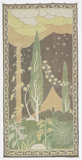 Vertically rectangular batik hanging of a landscape with a tent and a column in the middle ground, surrounded by cedar trees. Low plants and a spider web fill the foreground. The sky has both stars and billowing clouds. A floral vine border with rabbits in bottom border. Gray, green, apricot, yellow, and white.