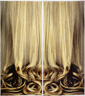 Pair of velvet curtain panels printed with a large-scale image of long blonde hair falling into curls at the bottom. Each panel printed in mirror image so that together they form a symmetrical design.