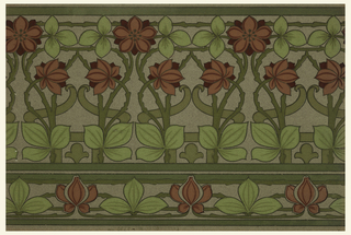 Interweaved floral and foliate pattern, composed of top frieze and matching chair-rail border.