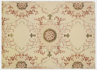 On pink ground, rinceaux in gray and pink scrolls, circular medallion in red and pink framed by tan; cartouches framed by pink scrolls and tan fleurs-de-lis.