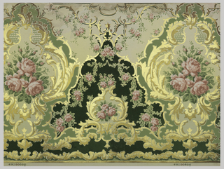 Large medallion with floral center. Printed in green, pink and metallic gold.