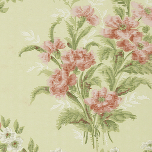 Floral bouquet set between floral swags. Printed in green, pink and white on loire-like ground.