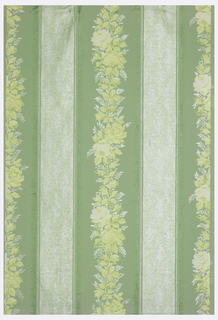 Vining floral bands alternate with tufted bands of equal width. Printed in yellow, white and green on lighter green ground.