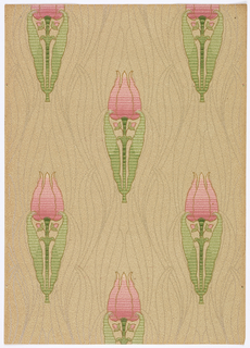 Art nouveau; elongated styllized tulips on long stem with two elongated leaves. Fine line leaves, oblong and curvy, fill the background of tiny dots and vermicelli lines. Printed in pink, red, green and brown on a beige background.