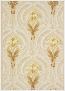 Art nouveau; stylized iris with fleur de lis resemblance on long stem with acanthus leaves. Curved bands and small flowered branches hug the iris motif and horizontal brushstrokes fill the background. Printed in off-white, white, pale gold, ocher and olive on a beige background.