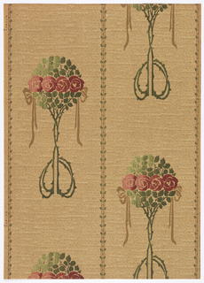 Art nouveau; four round roses in horizontal surrounded by leaves shaping a round tree-like form on long intertwined stems which end in two loops. Three vertical lines with small leaves run through the paper nine inches apart. Two looped ribbons are placed on each side of the motif. Printed in pink, shades of red and green.