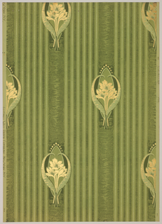 Art nouveau; three small tulips on long stems enclosed in large curved tulip leaves. The motif is set into a vertical stripe, two inches wide in 4 1/2 inch repeat. 5 1/4 inch stripes fill the space between the large stripes. Printed in shades of green and gold mica on a light green background.