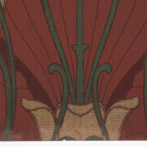 Art nouveau; tall stylized tulips on long stems and elongated curls vertically placed. Printed in shades of green and red on dark olive background.