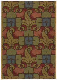 Stylized four-cornered flower with three tulip leaves on three sides and a leaf with scrolls and stem at the low side. Printed in green, olive, blue and charcoal on a background of red and burgundy.