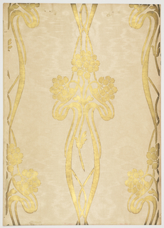 Art nouveau; three clusters of tulip leaves on curvy stems which are enclosed in vase-like art nouveau design. This is a vertical one directional stripe-like design. Printed in dark gold mica on an off-white, gold-dusted background.