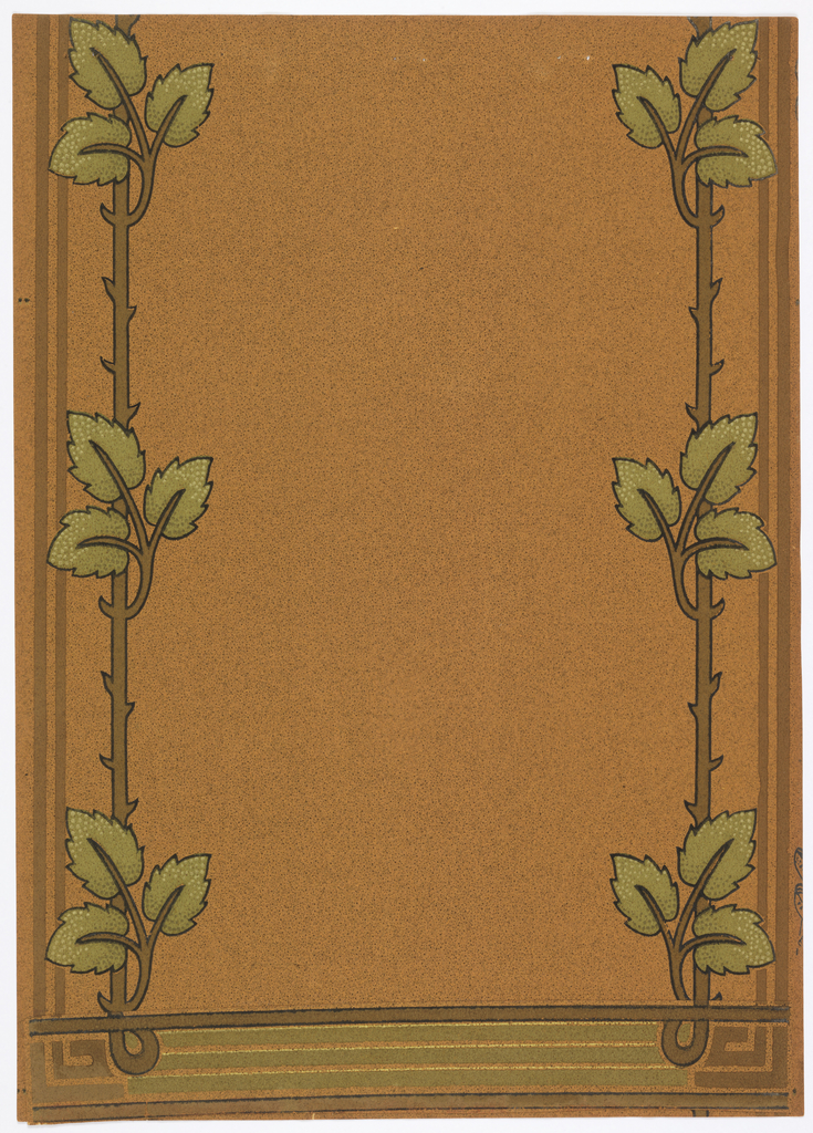Art nouveau; vertical stem with thorns and three rose leaves on stems, repeating every 5 3/4 inches. These stems run parallel to the edge of the paper on each side. A 2 1/2 inch stripe runs at the bottom. The background is stippled. Printed in shades of green, brown and black on a gold background.