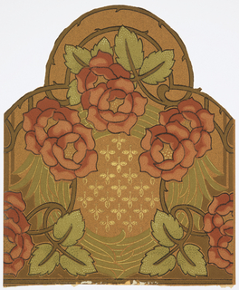 Art nouveau; motif of two roses with three leaves is arranged in a half circle. Underlying in full circle are oblong leaves forming a wreath. In its center are small three-leaved motifs. The background is stippled. Printed in shades of green, brown, black and pink on a gold background.
