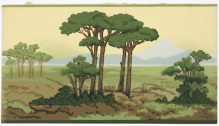Narrow scenic frieze, groups of trees in foreground, then open fields, behind which are mountains, printed in blues, greens, browns, with yellow sky.